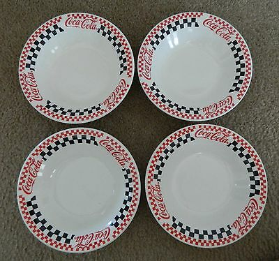 Set Of 4 Gibson Coca-Cola Soup / Salad Bowls Coke 1996 Checkerboard Pattern