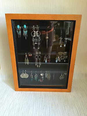 Glass front Earring Storage Display Case shadow box wall mount