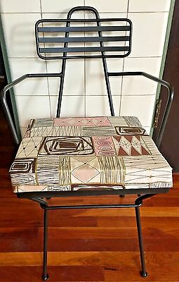 Vintage MCM 1950s Black Metal Wrought Iron Atomic Barkcloth Chair