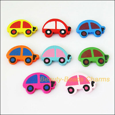 15 New Charms Mixed Wooden Lovely Tiny Car Craft Spacer Beads 22x34mm