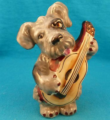 Old vinage skye terrier play guitar ceramic china FREE SHIPPING musical puppy