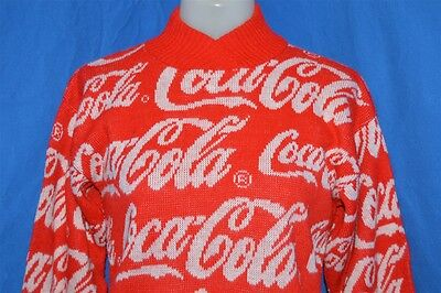 vtg 80s COCA COLA RED WHITE COKE INTARSIA KNIT ACRYLIC SWEATER YOUTH LARGE YL