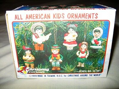 Vintage 1986 Christmas Around The World All American Kids Ornaments-W/box!