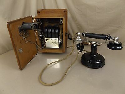 Antique 1920's Kellogg Grab-a-phone + Oak Ringer Box Magneto Telephone