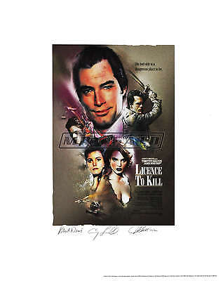 Licence To Kill - Bond Lithograph - Signed by Robert Davi, Carey Lowell - ROLLED
