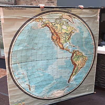 "Rare Vintage German Mid-Century 65.5"" x 65.5"" Western Hemisphere Canvas Wall Map"