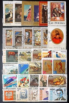 POLAND GREAT LOT of 32 Comemmorative STAMPS art painting sports  lot #2