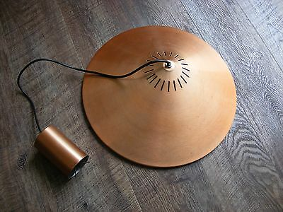 Vintage 70's Copper Ceiling pendant light lamp fitting and ceiling rose
