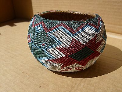 "Paiute Indian Beaded Basket .5"" x 3 1/4. c.1920-30."