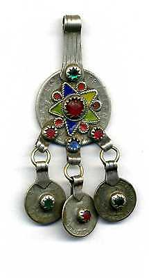 Morocco – Berber silver, enamel and glass pendant for necklace