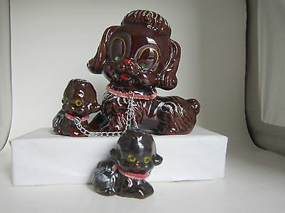 Vintage Brown POODLE figurine with 2 puppies on chain Japan