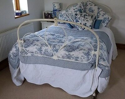 Antique 4' Wrought Iron Bed 4ft Victorian Metal 3/4 Old Shabby Chic