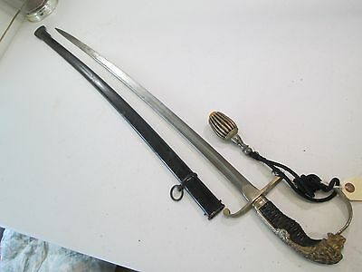 WWI GERMAN LION HEAD CAVALRY OFFICERS SWORD WITH SCABBARD & silver portape #T142