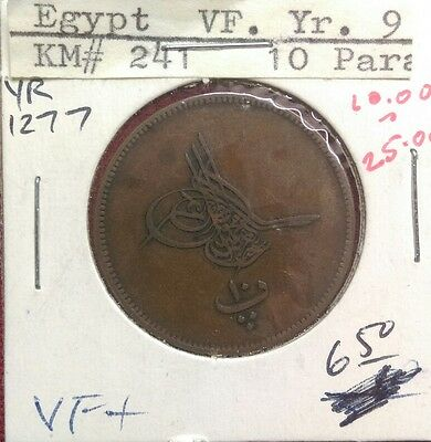 Egypt 10 Para, AH 1277 Yr. 9 (1868), World Coin