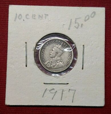 1917 10C Canada 10 Cents, Silver World Coin