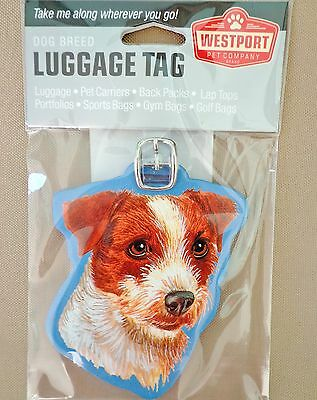 Westport JACK RUSSELL Dog Pup Wood Luggage Tag Pet Carrier Purse Gym Golf Bag