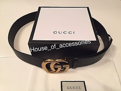 New Authentic Black Gucci Leather Belt With Double G Buckle 110cm  Waist 38-40