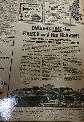Dec 2, 1947 Newspaper Page #j5351- Owners Like The Kaiser And The Frazer!