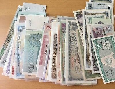 Mixed Lot of 85+ Pieces World Paper Money Banknotes