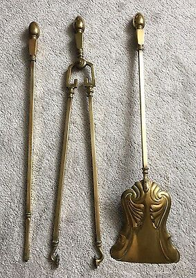 Large Solid Brass Vintage Antique Fire Tools Companion Set For Hearth Fireplace