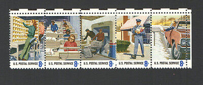 Vintage Unused US Postage Strip 8 Cent Stamps POSTAL PEOPLE Rural LetterCarriers