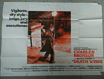 Death Wish 1974 Original UK Quad Cinema Poster