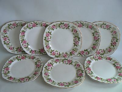 Colclough Enchantment Pink Roses Fine bone China Side Plates x 8 Tea Plates