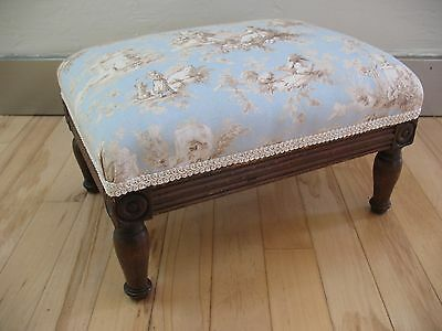 Vtg. Footstool New Waverly Fabric Blue and CreamToile French County Cottage Chic