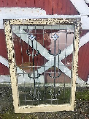 Rare Old Art Nouveau Style Large Leaded Window From Mansion Old Paint Floral