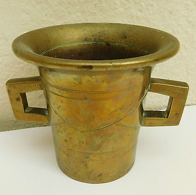 Antique brass mortar Chemist apothecary vintage 1340g with spikes in base