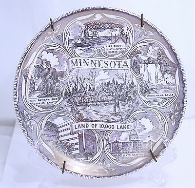 Minnesota State Collectors Plate Brown Tones Land of 10,000 Lakes Vintage