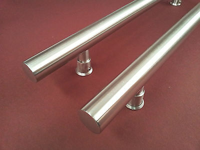 ENTRANCE DOOR HANDLE PULL SET SATIN STAINLESS STEEL 600mm LONG BRUSHED