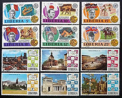 LIBERIA 1972 MUNICH OLYMPIC GAMES 2 complete sets, 12 stamps sports Used Lot #20