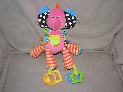 Carters Stuffed Plush Pink Orange Stripe Elephant Baby Toy Rattle Crinkle Tags