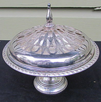 Vintage Sterling Silver Compote with Lid Reticulated Lid Preisner - Weighted