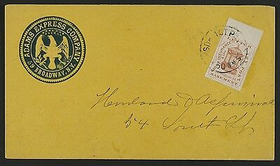 Hussey Local#87L26 Adams Express illustrated seal corner card cover-New York, XF