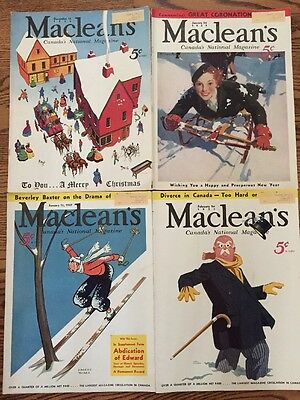 4 Vintage Maclean's Magazines From 1936 And 1937 Canada's National Magazine