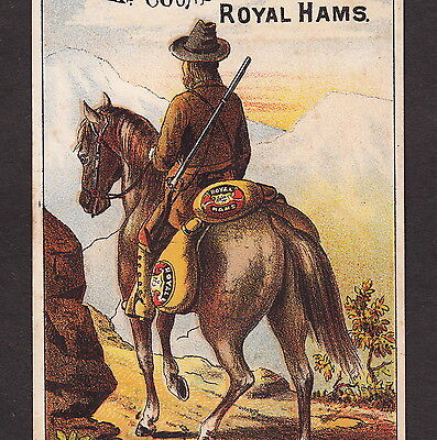 Arkansas Traveler 1800's Mountain Man Cowboy old Counselman Ham Advertising Card