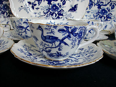 COALPORT CAIRO BLUE #9252 (c.1950+) CUP & SAUCER- BLUE MARK- EMBOSSED! GILT!