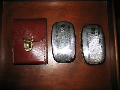 Pair Of Vintage Men's Grooming Brushes With Leather Case