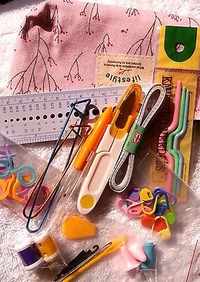 KNITTING TOOL KIT #1 - mixed essential  knitting tools - 42  pcs - CHOICE OF BAG