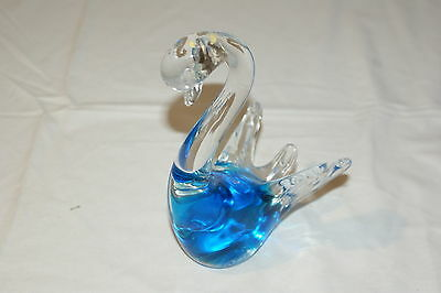 Vintage Murano Glass Blue Swan
