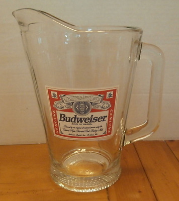 Heavy Glass Budweiser Beer Pitcher King of Beers