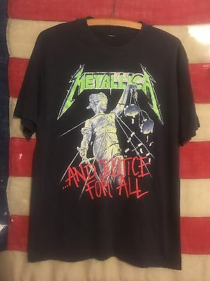 VINTAGE 80's METALLICA 1988 AND JUSTICE FOR ALL CONCERT TOUR T SHIRT METAL M-L