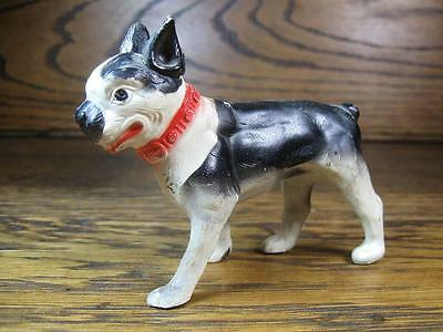 Vintage Celluloid Black and White Boston Terrier Dog