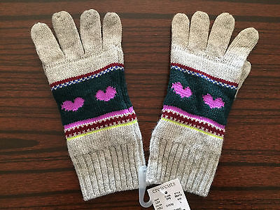 NWT J Crew Crewcuts Heart Fair Isle Girls Snow Winter Gloves Size Large