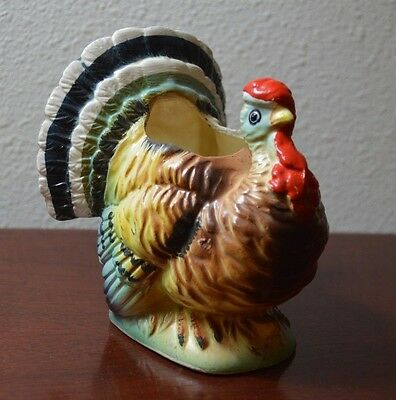 "VINTAGE RELPO TURKEY 5503 THANKSGIVING PLANTER VASE 4.5"" w/ STICKER & STAMP"