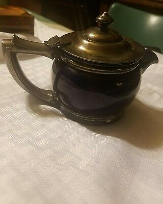 Cobalt Hall Teapot R. Wallace silver soldered lid