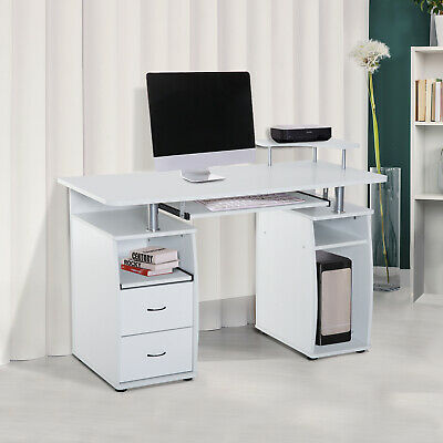 HOMCOM Computer Table Desk PC Desktop Drawer Home Office Furniture White