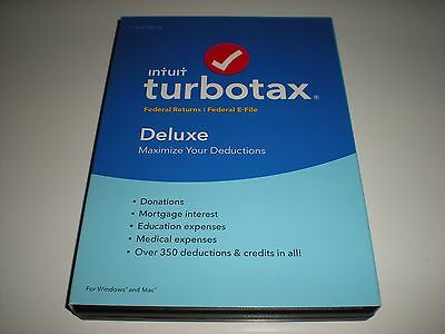 Turbotax 2016 Deluxe. Federal only + Federal E-file. No state. New sealed box.